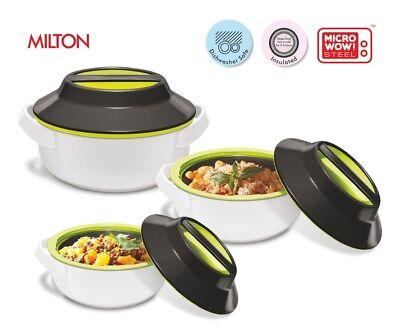 Milton Microwow Microwave Safe Casserole Dish Pan 3 Piece Set Hot Pot Lid Round