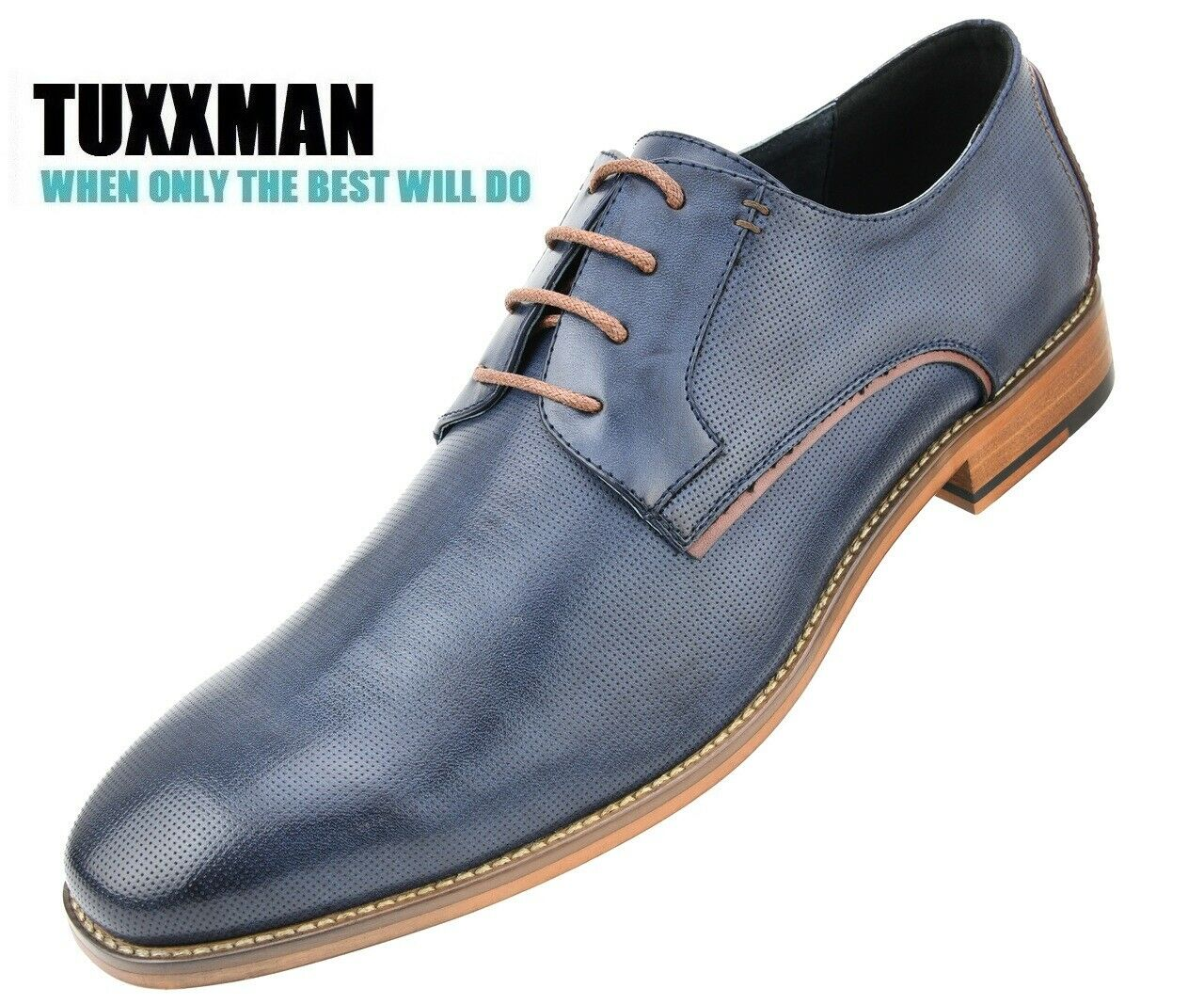 Men's Men's Contemporary Navy Blue Lace Up Plain Toe Oxford Dress Shoes TUXXMAN