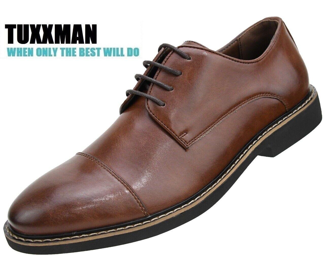 Men's Brown Cap Toe Oxford Lace up Memory Foam Dress Shoes T