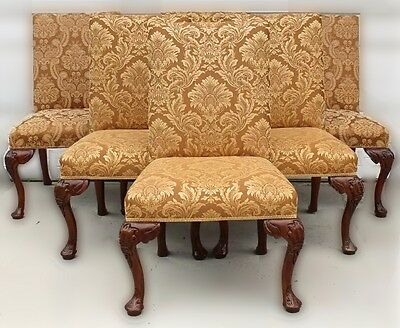 (Set of Six High Back Dining Chairs with Gold Damask Upholstery & Carved Legs)