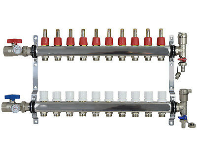 10 Loopbranch 12 Pex Manifold Stainless Steel Radiant Floor Heating Set Kit