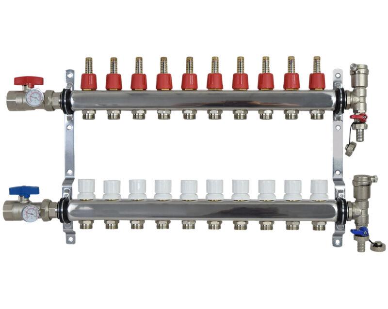 """10 Loop/Branch 1/2"""" Pex Manifold Stainless Steel Radiant Floor Heating Set / Kit"""