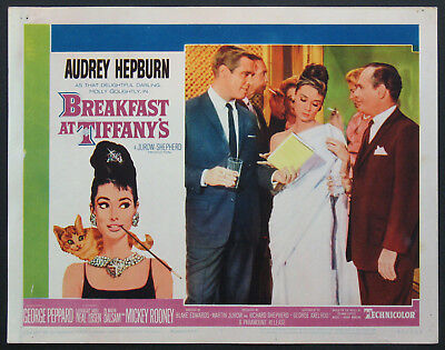 BREAKFAST AT TIFFANY'S AUDREY HEPBURN IN WHITE DRESS 1961 LOBBY CARD #5