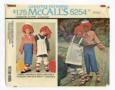 MCCALL'S 5254  HALLOWEEN COSTUME  RAGGEDY ANN AND ANDY  ADULT SIZE - Raggedy Ann And Andy Adult Costumes