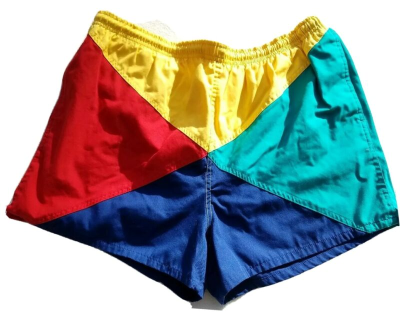 Vtg 90s Cross Colors Bright Swimming Trunks Beach Shorts Mens Size Large 36/38