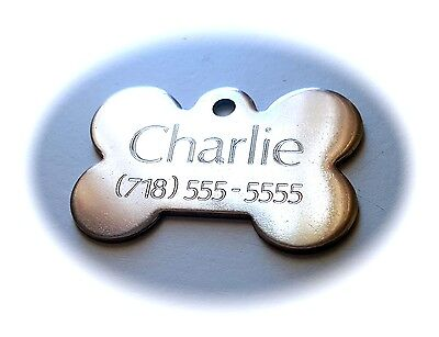 PET TAGS XL BONE (5.5cm) ID STAINLESS STEEL 2 SIDE DIAMOND ENGRAVE DOG NAME TAG