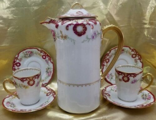 ANTIQUE LIMOGES ELITE BOWER & DOTTER  CHOCOLATE  SET- POT, 2 CUPS & 4 SAUCERS