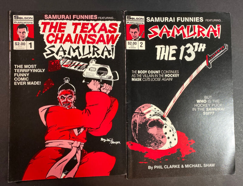 Samurai Funnies #1 , 2  1987  Solson  Texas Chansaw And Friday The 13th Jason