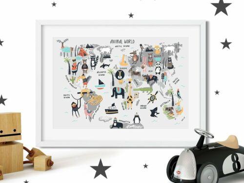 Cute World Map Nursery Print Picture, For Boys Girls Bedroom Scandinavian Style