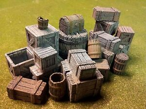 1/35 Scale  - Deluxe stowage set - large selection of Wooden crates + Barrels