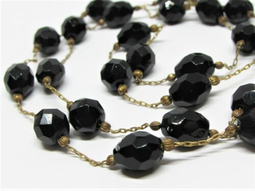 Antique Victorian Carved Whitby Jet Necklace Faceted Black Bead Long Brass Chain