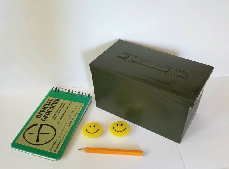 Geocaching Beginner Kit Mini Plastic Ammo Box w Log Book, Pencil, Label & Swag