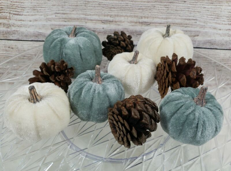 Gray Cream Velvet Pumpkins Pinecones Bowl Fillers Wreaths Tabletop Thanksgiving