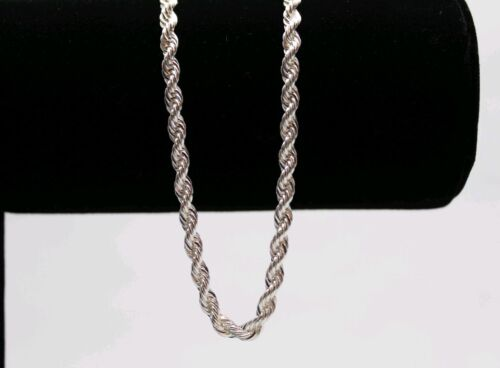 Italian Made 4mm 24inch Diamond cut .925 Sterling SILVER Rop