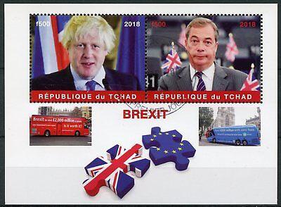 Chad 2018 CTO Brexit Nigel Farage Boris Johnson 2v M/S Buses Politicians Stamps d'occasion  Expédié en Belgium