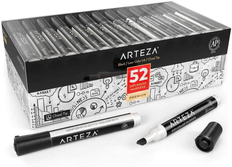 ARTEZA Dry Erase Markers, Chisel Tip, Black, Set of 52