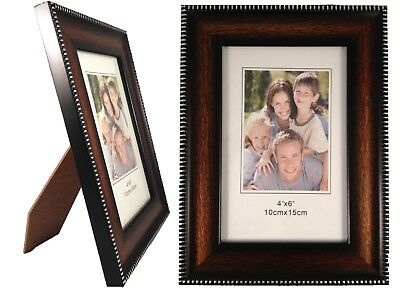 "Weyli 4x6 Brown Wood Picture Photo Frame, 1.25"" Wide Silver Border, 0.5"" Thick"