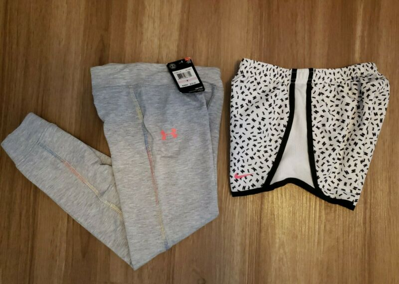 Girls Lot NIKE TEMPO Running Dri-Fit Shorts & Under Armour Joggers New Size 6 6x