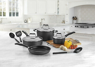 10-Piece Hard Anodized Cookware Set+Tempered Glass Cover Non Stick Home Kitchen Covered Oval Saute Pan