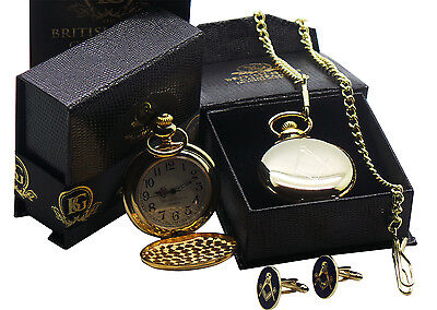 FREEMASON Gold POCKET WATCH CUFFLINKS Luxury Set Gift Box Masonic No G