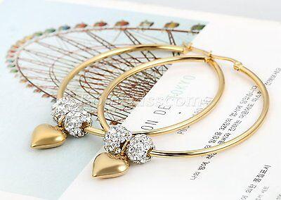 Women Rhinestone Heart Dangle Gold Tone Stainless Steel Big Circle Hoop Earrings