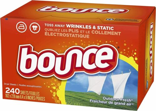 Bounce Dryer Sheets Laundry Fabric Softener Outdoor Fresh Scent 240 Count