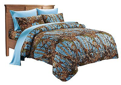 WOODS QUEEN SIZE 7PC SET POWDER BLUE CAMO COMFORTER SHEET CAMOUFLAGE (Blue Queen Comforter)