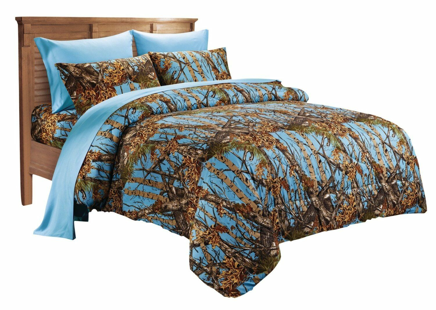 WOODS QUEEN SIZE 7PC SET POWDER BLUE CAMO COMFORTER SHEET CA