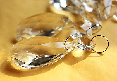 20PCS CLEAR CHANDELIER CRYSTAL LAMP PARTS GLASS PRISMS 38MM PENDANT DROPS WXSQ38