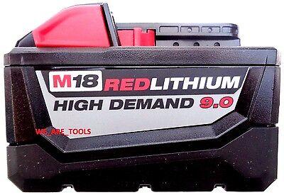 (1) New GENUINE M18 Milwaukee 48-11-1890 9.0 AH Battery 18 Volt 18V RED