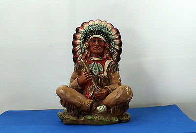 Vtg Universal Statuary Corp 1973 Chalkware Native American Indian Chief Bbb287