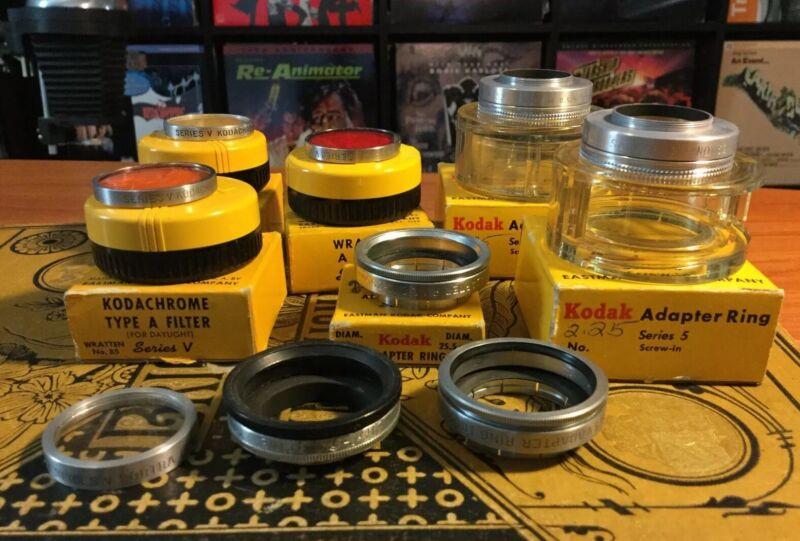 Large Assorted Lot Of Vintage Kodak Series V Filters & Adapter Rings