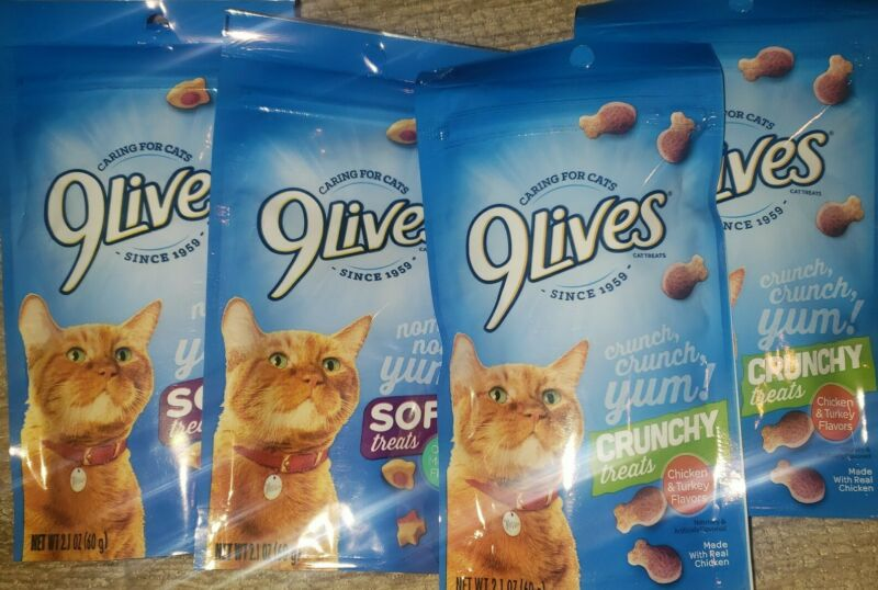 (4-Pack) 9 Lives Soft/Crunchy Variation Treats Flavor 2.1 oz.bags  2 of Each