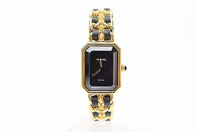 Authentic Chanel Watch Premiere L Goldtone Metal X Black Leather Women's  128233