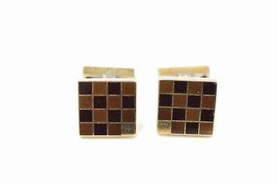 Authentic Louis Vuitton Cuff Links Damier Goldtone Silver 925 with Case 127809