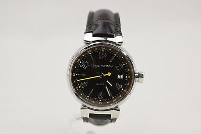 Authentic Louis Vuitton Watch Tambour Q1131 Alligator Automatic GMT Men's 128289