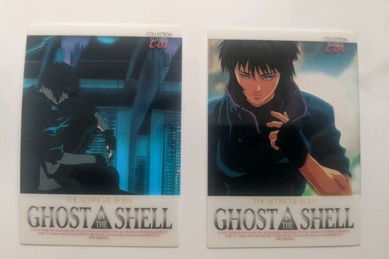 1995 Ghost in the Shell JPP/AMADA Clear Chrom, / Holoc. Chase Cards C01 & C-09