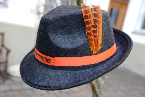 Jagermeister Hut Filzhut Trachtenhut Dunkelgrau Mit Feder Orange One