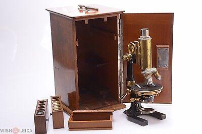 Reichert Monocular Brass Antique Microscope In Original Wooden Case