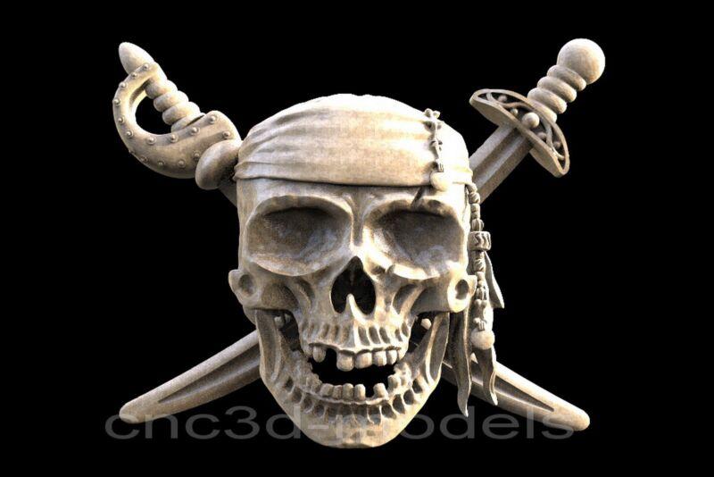 3D STL Models for CNC Router Engraver Carving Artcam Aspire Pirate Skull 174