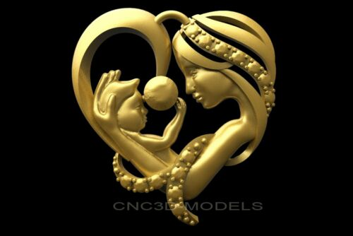 3D Model STL for CNC Router Carving Artcam Aspire Baby Love Heart Woman 8032