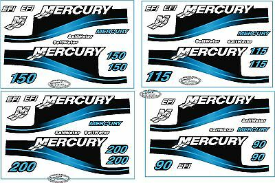 Mercury Outboard Motor 225hp Horse Power Decal Kit - Blue Saltwater Efi