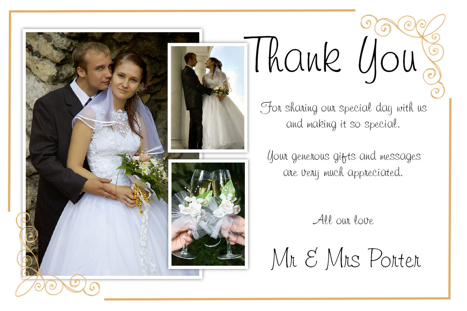 i am a fan of the personalized thank you note but my experience up to now has been receiving a generic thank you and photo of the couple which to me is