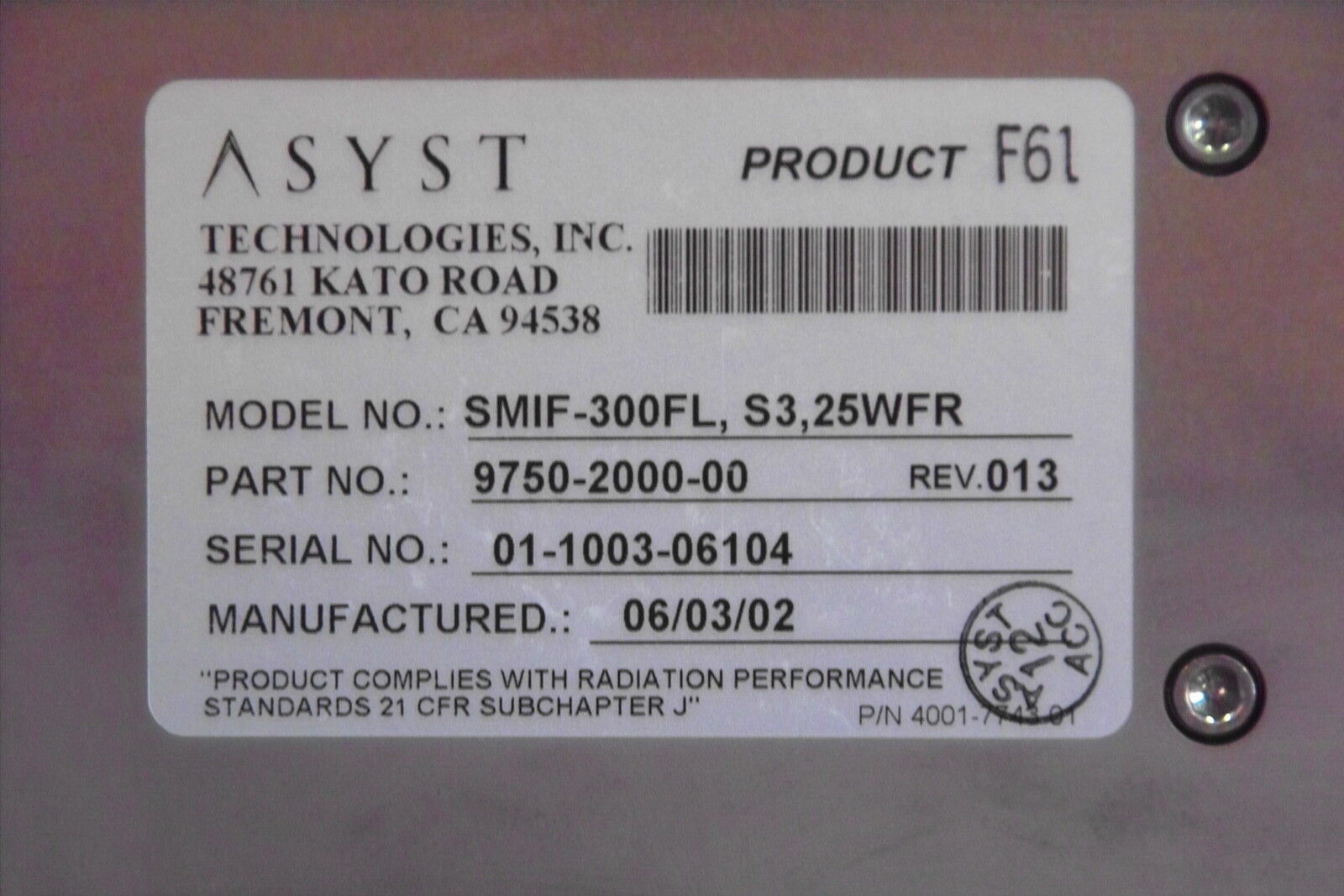 ASYST 300mm WAFER,LOAD PORT SMIF-300FL,S3,25WFR,9750-2000-00