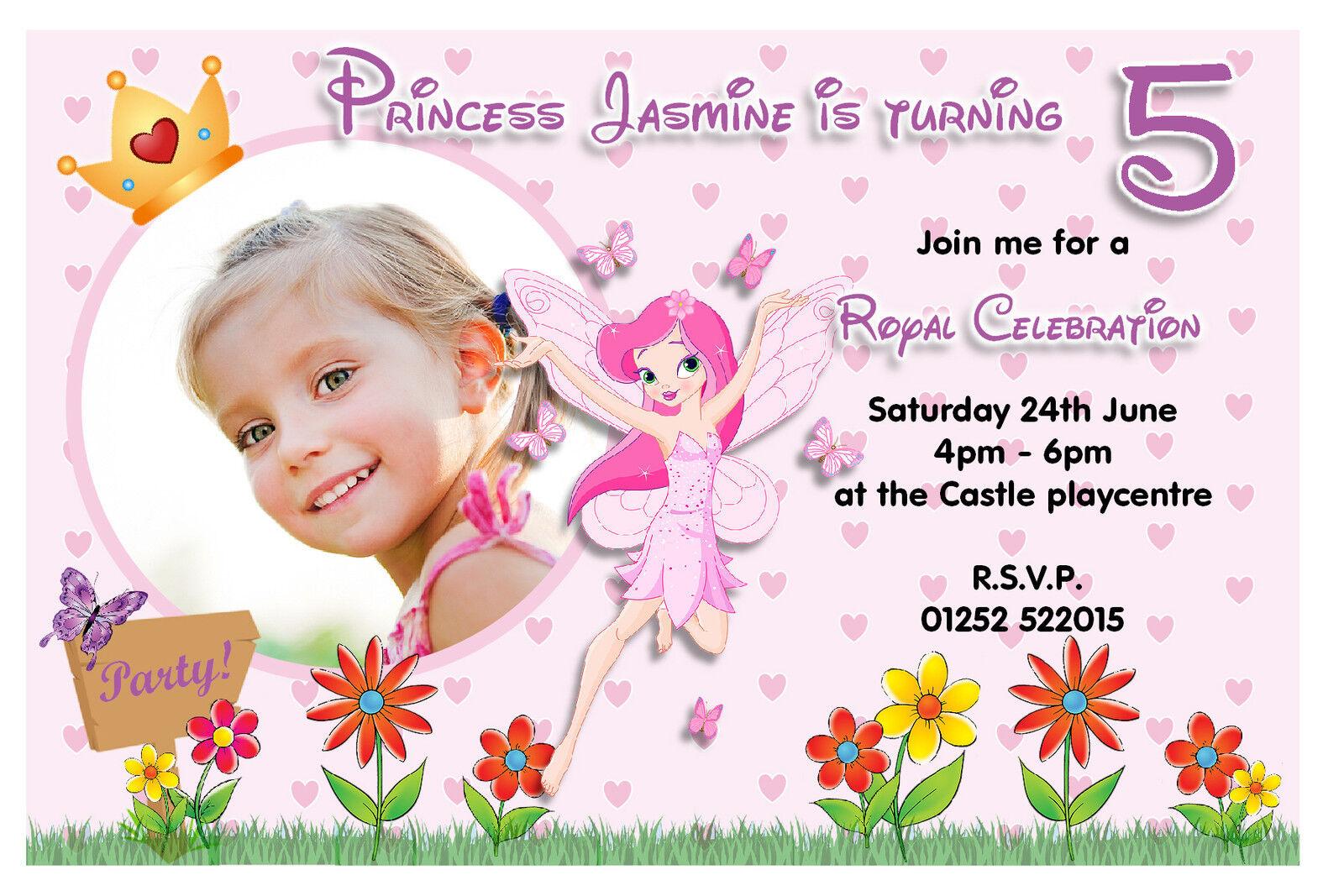10 Personalised Girls Princess Fairy Birthday Party PHOTO