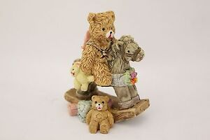 NEW Cute Ceramic Teddy Bear on Rocking Horse Ornament Great Gift
