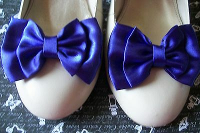 ♥DARK SATIN BOW SHOE CLIPS VINTAGE STYLE GLAMOUR BOWS 40s 50s BRIDAL PARTY PROM