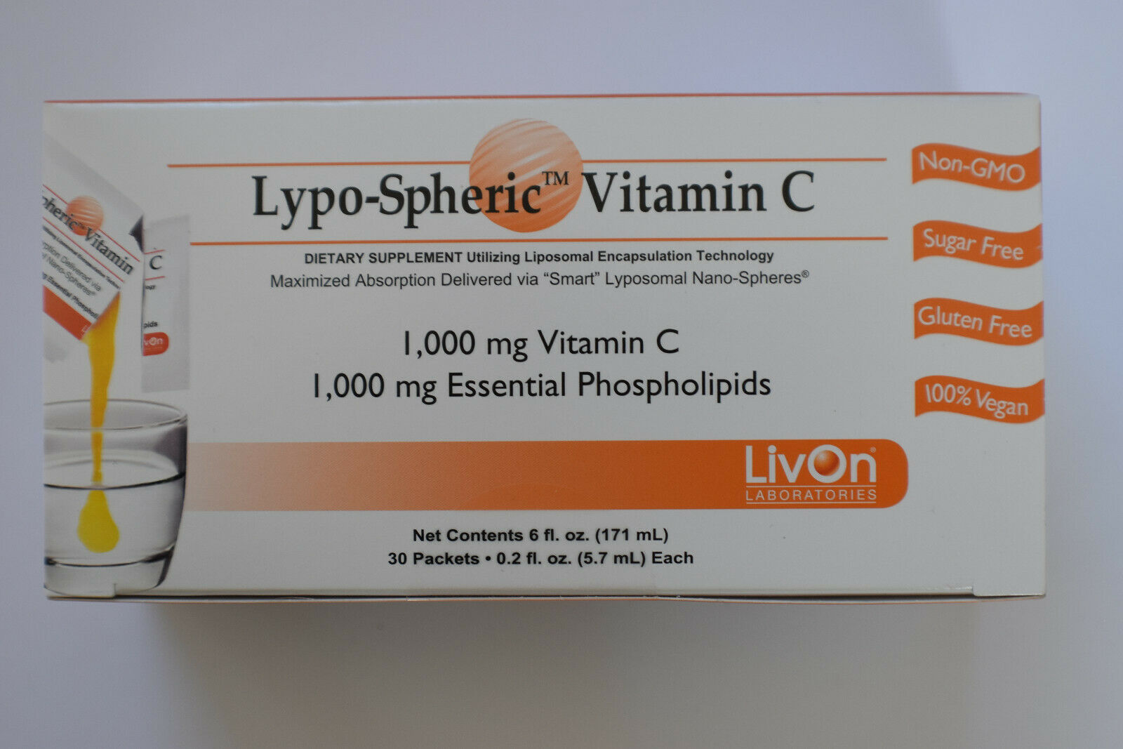 LivOn Labs Lypo-Spheric Vitamin C 1000mg 30 Packets EXP 3/2022 Shipping Same Day