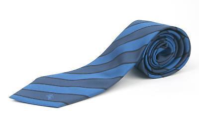 Burberry London $190 Shades of Blue Black Striped Knight Logo Classic Silk Tie