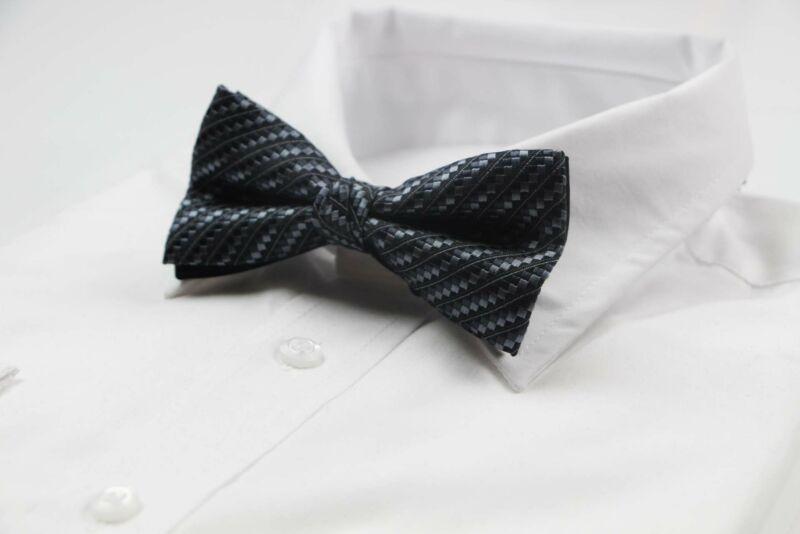Mens Charcoal Shaded Squares Patterned Bow Tie